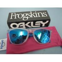 OAKLEY men FROGSKIN sunglass Matte Clear/Sapphire Iridium OO9013-B255 NEW in box