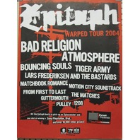 Epitaph Bad Religion 2004 Warped Tour promotional poster Excellent New old stock