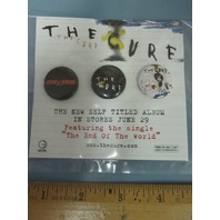 THE CURE 2004 GEFFEN The Cure promo 3 button/badge set on card MINT condition