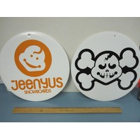 JEENYUS snowboard super RARE 2003 Vintage Dealer Promo Double Sided Sign N.O.S.1