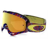Oakley mens O-Frame MX Goggle Rain Of Terror Red Blue/24K OO7029-27 New in Box