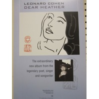 Leonard Cohen 2004 Dear Heather Promotional Poster Mint condition N.O.S.