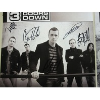 3 Doors Down 2008 Self Titled 2 sided Autographed Promotional Poster Flawless