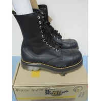Dr. Martens 10 Eye Black Greasy Steel Toe Boot UK6 US7 New Old Stock In Box 1997