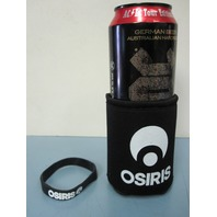 Osiris Skateboard promo beverage can Koozie & Rubber Bracelet New Old Stock