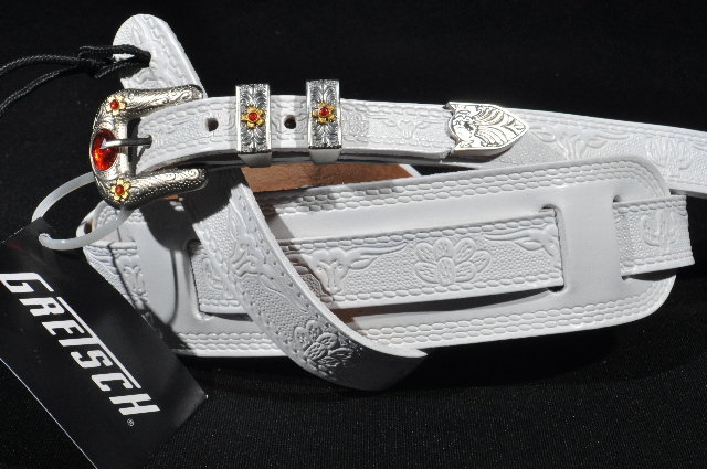 gretsch tooled leather guitar strap white new streetsoundsnyc. Black Bedroom Furniture Sets. Home Design Ideas