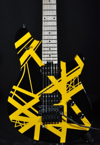 EVH WOLFGANG SPECIAL BLACK YELLOW STRIPED ARCHTOP GUITAR
