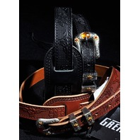 Gretsch Tolled Leather Guitar Strap 2-Pack Black/Walnut