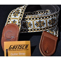 Gretsch G Brand Guitar Strap Diamond With Brown Ends