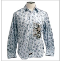 "FENDER CUSTOM SHOP ""ALL OVER SKULL"" LS SHIRT BLUE MEDIUM"