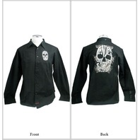 "FENDER CUSTOM SHOP ""BIG SKULL"" LS SHIRT BLACK SMALL"