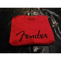FENDER SPAGHETTI LOGO TEE SHIRT RED MEDIUM