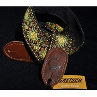 Gretsch G Brand Guitar Strap Yellow/Orange With Brown Ends