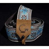 Gretsch G Brand Banjo Strap Blue W/ Brown ''G'' Logo Leather Ends 32''-57''