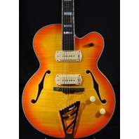 D'ANGELICO DAEX-59 SUNBURST ARCH TOP HOLLOW BODY GUITAR W/HARDSHELL US15070739