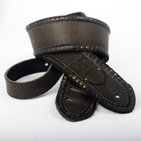 VOLUME & TONE DISTRESSED BLACK W/ STUDS  GUITAR STRAP 2.25""