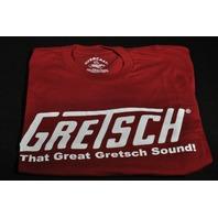 """GRETSCH """"THAT GREAT GRETSCH SOUND"""" TEE SHIRT BURGUNDY SMALL"""