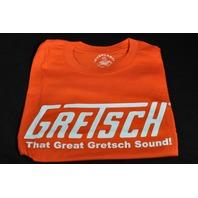 """GRETSCH """"THAT GREAT GRETSCH SOUND"""" TEE SHIRT SMALL ORANGE"""