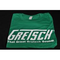 """GRETSCH """"THAT GREAT GRETSCH SOUND"""" TEE SHIRT MEDIUM GREEN"""