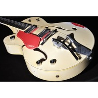 Gretsch USA Custom Shop G6120CST-LH  Lefty White Over Red Heavy Relic Nasville Guitar