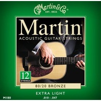 MARTIN M180 EXTRA LIGHT 80/20 (2-SETS) 12 STRING BRONZE ACOUSTIC GUITAR STRINGS