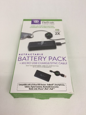 Retrak essentials retractable battery pack - black