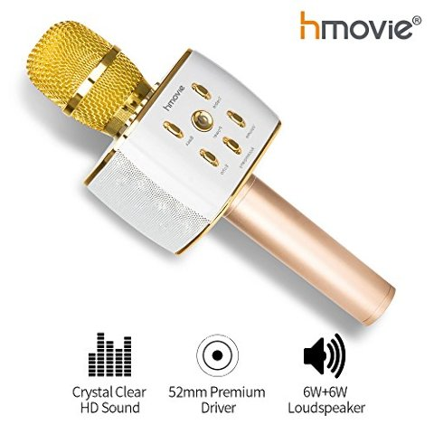 Wireless Handheld Stereo Karaoke Microphone w/Bluetooth For SmartPhones Q7, Gold