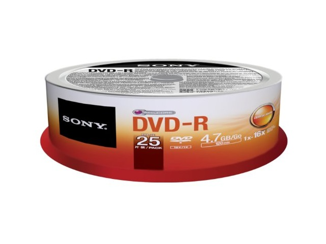 Sony 25DMR47SP 16x DVD-R 4.7GB Recordable DVD Media - 25 Pack Spindle