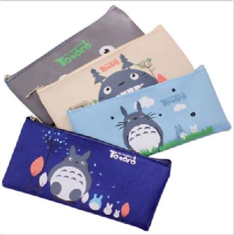 Cute Kawaii Fabric Pencil Case Lovely Cartoon Totoro Pen Bags 4 pack