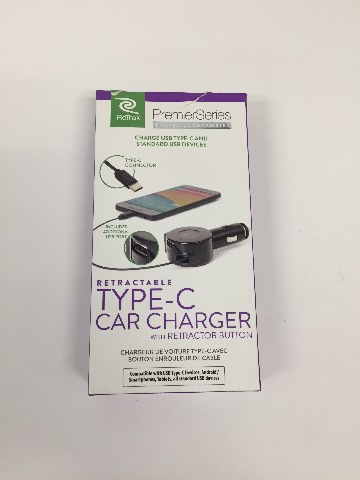 Retrak Type C In Car Charging Cable For All Type C Connector Devices With USB