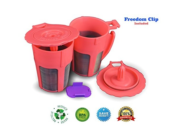 canFly Pack of 2 Reusable 4-Cup Carafe Coffee Filters with Freedom Clip for the Keurig 2.0 K300, K400, K500 Series of Machines (2, Orange)