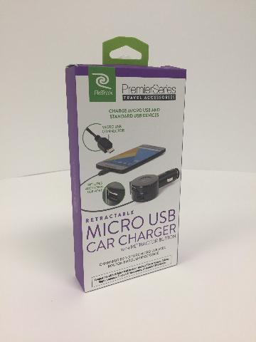 MICRO USB CAR CHARGER WITH RETRACTOR BUTTON