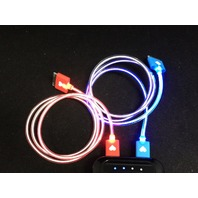 Lighted Apple iPhone 4 4s, iPod 1-4g, iPad 1,2,3 USB charge/sync cable - 30 pin