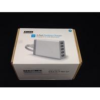 Anker 40W 5-Port Desktop USB Charger with PowerIQ Technology (White)