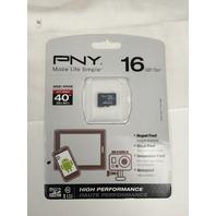 PNY High Performance 16GB High Speed MicroSDHC Class 10 UHS-I, U1 up to 40MB/sec