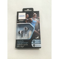 Philips SHQ2305WS/27 ActionFit Sports Headphones with Mic, Black/White