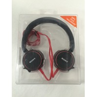 Sony MDR-ZX600/BLK Over the Head Style Headphones - black with red