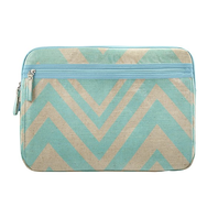 ‪Studio C - Chevron and On Laptop Sleeve - Linen/Aqua - Larger Front‬