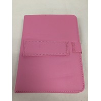 "HDE 7"" Universal Tablet Case Hard Leather Folio Case Cover with Keyboard (Pink)"