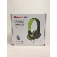 Kanen I35 Stereo Lightweight Foldable, Headphones with Microphone, Grey/Green