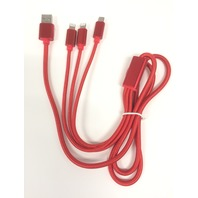 3 in 1 Multi USB Charging Cable with 2X Lighting and Micro - multiple colors