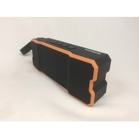 Kisreal Mini Stereo Rechargeable Bluetooth Speakers, Orange and Black
