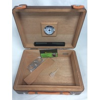 Scotte Portable Cigars Humidors Wood & Leather Handheld Cigar Travel Box - READ