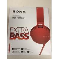 Sony XB550AP Extra Bass On-Ear Headphone, Red (2017 model)