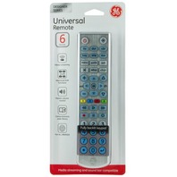 GE Universal Remote Control, 6 Devices, Brushed Silver 35835