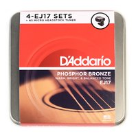 DAddario LE Tin - 4 Sets of EJ17 Acoustic Guitar Strings w Micro Headstock Tuner