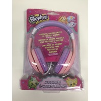 Shopkins Kid Friendly Stereo Character Headphones Built in Volume Limiting, Pink