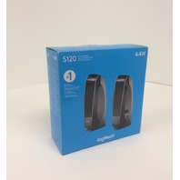 Logitech S-120 2-Pc Stereo Speaker System w/ Auxiliary Headphone Jack (Black)