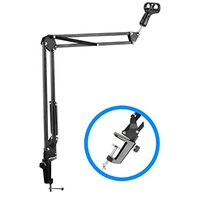Premium Mic Stand - Microphone Arm And Clamp - Desk Mounted Suspension