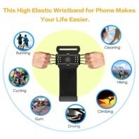 VUP Wristband Phone Holder for iPhone X iPhone 8 8Plus 7 7 Plus 6S 6 5S Samsung Galaxy S8 Plus S7 Edge, Google Pixel, 180° Rotatable, Great for Hiking Biking Walking Running Armband(Black)